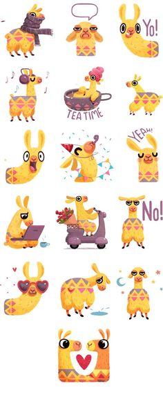 Hipster Llama Sticker Pack by Alena Tkach on Behance♥♥ Alpacas, Cute Illustration, Character Illustration, Lama Animal, Llama Arts, Paper Toy, Kawaii, Animation, Cute Characters