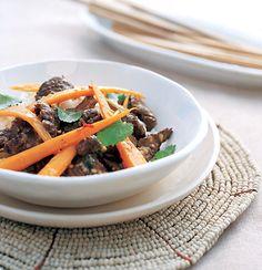 Chilli-orange ostrich, carrot and coriander stir-fry  #Tastebudladies #Ostrichmeat