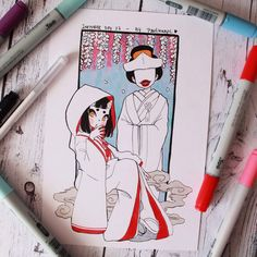 Inktober 2017 day 27 - Ohaguro-bettari and Eunbooh by Paulinaapc on DeviantArt Copic Marker Art, Writing Art, Kawaii Art, Copics, Art Sketchbook, Aesthetic Art, Cute Drawings, Japanese Art, Cute Art