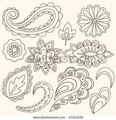 Hand-Drawn Abstract Henna Paisley Vector Illustration Doodle Design Elements, Blue 67 Design