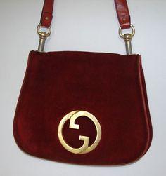 c8b14ebc9bb RARE Vintage GUCCI Blondie Russet Orange GG Suede   Leather Shoulder Handbag