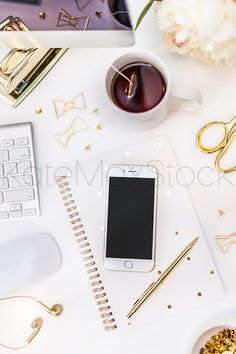 Pretty desk! Ready for your Screenshot! Styled Stock Photography / KateMaxStock / Flat Lay / Product Mockup / Pretty Office / Desk From Above / Gorgeous Branding / Branding Colors / Office Styling / Pretty Office  White and Gold Office Desk Styled Stock Photography by KateMaxShop