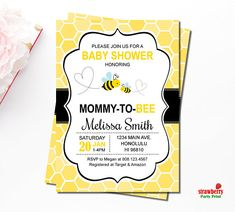 Bumble Bee Baby Shower Invitations, Honey Bee Baby Shower Invitations, Mommy to Bee, Personalized Printable Invitation, C61