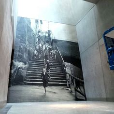 NGVA photographic wallpaper installation entitled Fairy Lane Steps by Harold Cazneaux. Original is 24cm x 18cm. #photography #blackandwhite #haroldcazneaux #ngva #federationsquare