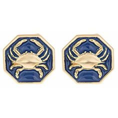 By Fornash Fun yet sophisticated, our enamel crab earrings are fantastic for any outfit. Colorful enamel surrounds a gold finished crab inlay. Nautical Outfits, Nautical Fashion, Grandmothers Love, Nautical Jewelry, Cameo Necklace, Enamel Jewelry, Girly Things, Stud Earrings, Jewels