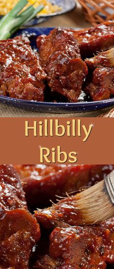"lighthearted tribute to the ""best of the best"" of backwoods country cooking really shines in our Hillbilly Ribs recipe. This is down-home cookin' that'll guarantee a full house at the table. Pork Rib Recipes, Grilling Recipes, Meat Recipes, Online Recipes, Recipies, Smoker Recipes, Healthy Recipes, Barbecue Recipes, Country Style Pork Ribs"