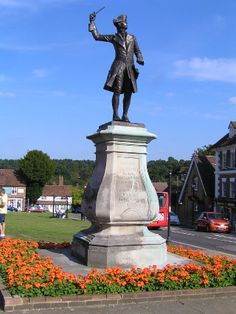 Westerham in Kent, UK with the statue of General Wolfe of the Battle of Quebec fame. His birthplace Quebec House in Westerham is open to the public also Sir Winston Churchill's previous home Chartwell is also in Westerham and open to the public