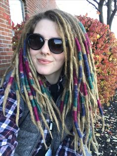 Dreadlocks colorful wool wraps.