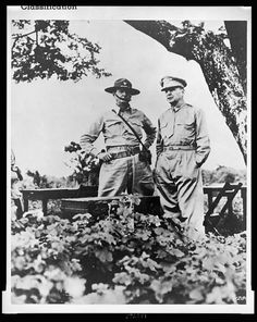 Major General Jonathan Wainwright (left) is shown with General Douglas MacArthur, in this Library of Congress Photo. Wainwright took over command when MacArthur was ordered to Australia.