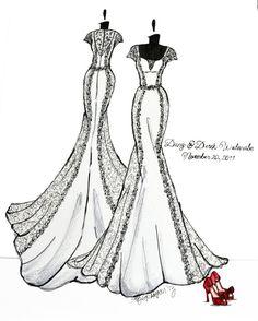 11x14 Custom Wedding Dress Sketch