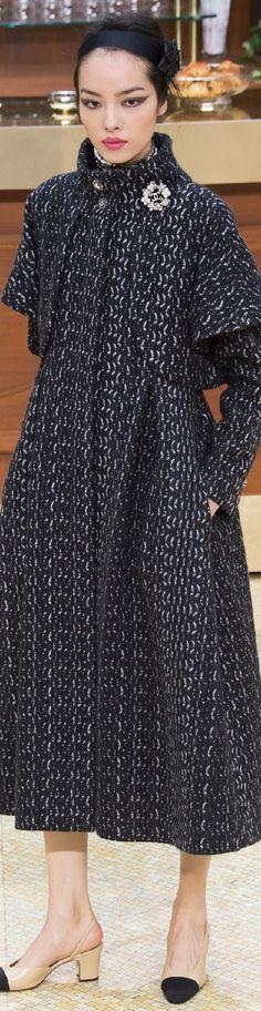 Chanel ~ Black + White Knit Top Coat 2015