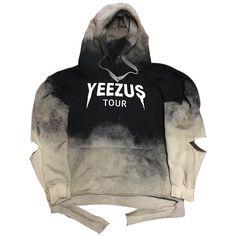 """Rock Hard """"Yeezus"""" Bleach Distressed Hoodie (£150) ❤ liked on Polyvore featuring tops, hoodies, sweaters, jackets, jumper, hooded sweatshirt, rock hoodie, sweatshirt hoodies, rock hoodies and hooded pullover"""
