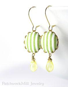 Ohrringe  Frühling Stripes  grünen und von PatchworkMillJewelry