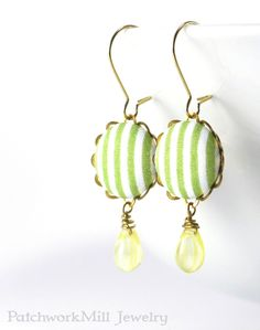 Dangle Earrings  Spring Stripes  Green and by PatchworkMillJewelry