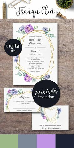 Purple and green succulent Wedding Invitation Set Geometrical Floral Wedding Invitation Printable #purplewedding #geometrical #trend #succulent