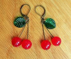 Cherry earrings, 1940's inspired with red jade and pressed glass leaves (smaller version)
