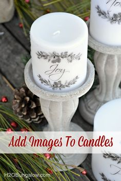 Have a few plain candles in a cabinet somewhere? Today, I'm going to share with you how to add images to candles using a heat gun. Using this technique, I turned plain white inexpensive candles into beautiful ones that look like they came from an upscal Old Candles, Mason Jar Candles, Pillar Candles, Advent Candles, Homemade Candles, Homemade Gifts, Holiday Crafts, Christmas Crafts, Christmas Decorations