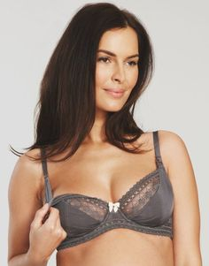 5199409ff Amoralia Cupcake flexiwire nursing maternity bra Pewter C cup to H cup H Cup
