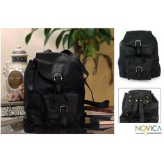 NOVICA Black Leather Back Pack from Mexico ($178) ❤ liked on Polyvore featuring bags, backpacks, accessories, black, clothing & accessories, handbags, travel bags, black knapsack, black backpack and black leather bag
