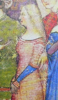 Check out the cool pattern on the fabric! And the cuffs on her sleeves. Lancelot du Lac, MS Français 343, 1375