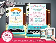 Vintage Typewriter Invitation DOC PDF JPG Instant Download Printable Digital Font Editable Template File by clipartsuperstore on Etsy Bride Shower, Baby Shower, Edit Font, Vintage Typewriters, Lets Celebrate, Party Items, Book Nerd, Digital Scrapbooking, Rsvp
