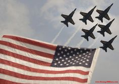 AMERICAN FLAG WITH NAVY BLUE ANGELS FLYOVER