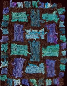 Teal Lattice. Hand knit rag rug, made from recycled t shirts and other clothing. Sold. See more at www.rugsfromrags.com