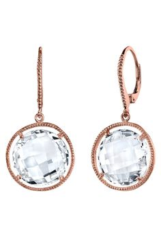Montage 14K Rose Gold Clear Quartz Gemstone Leverback Earrings -