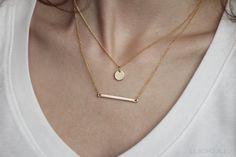 16k Gold Plated Horizontal Bar Necklace by Le Boho Bleu
