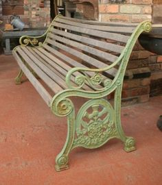 Antique Victorian Rose and Thistle Bench (Royal Parks garden bench with rose and thistle emblem)