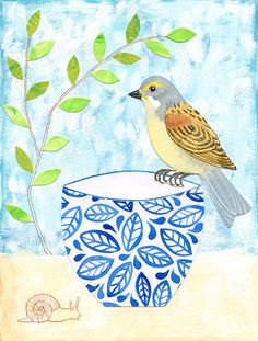 Bird, teacup and snail - acrylic, watercolor, gouache, ink and collage by Alison Kolesar