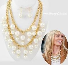 Ivory Pearl & Gold Statement Necklace <3 2 Broke Girls Celebrity Designer Inspired (Chanel) Jewelry New Boxed  $30.00 Free USA Shipping (6 Pcs Stock) by sonja
