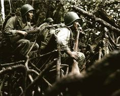 73 years ago today - 13 September 1943  Infantrymen of Company 'I', 35th Infantry Regiment, 25th US Infantry Division await the word to advance in pursuit of retreating Japanese forces. The Vella Lavella Island Front, in the Solomon Islands, Southwest Pacific. 13th of September 1943