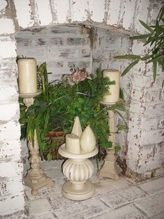 white washed painted brick fireplace. Use paint with lime salt and water. keep water and sponge nearby to adjust to your liking.