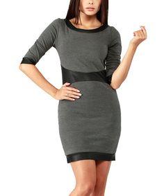 Loving this Graphite Faux Leather-Trim Scoop Neck Dress on #zulily! #zulilyfinds