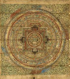 "Living a Life in Flower: ""My World of Collage Journaling"" Belinda Clements Tibetan Mandala, Tibetan Art, Tibetan Buddhism, Buddhist Symbols, Buddhist Art, Painting Prints, Art Prints, Paintings, Mandala Painting"