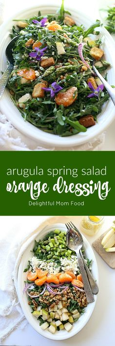 The lightest most satisfying vegetarian arugula salad packed with rocket (rucola) leaves, meaty walnuts, earthy red onions, hints of feta, nutty asparagus vegetables and topped with a savory sweet mandarin orange salad dressing. Perfect for a spring brunch or dinner especially when the evenings are lighter longer! busy moms, healthy moms, healthy food, health and fitness, healthy tips