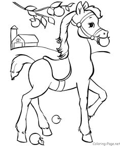 Horse coloring pages - Pony with saddle