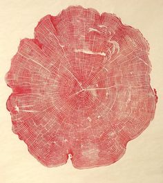 :: A red ink version of Bryan Nash Gill's signature woodgrain prints; this one was created from the cross section of an 82 year-old ash tree. ::