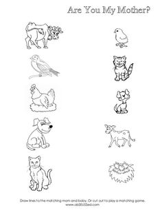 Are You My Mother Worksheet for mom/baby animal matching, cute! - Meghan McCormick - Are You My Mother Worksheet for mom/baby animal matching, cute! Are You My Mother Worksheet for mom/baby animal matching, cute! Matching Worksheets, Animal Worksheets, Animal Activities, Animal Crafts, Toddler Activities, Kindergarten Fun, Preschool Curriculum, Kindergarten Worksheets, Preschool Activities