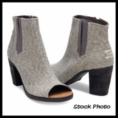 """TOMS Grey Metallic Linen Majorca Peep Toe Booties Brand New & On Trend!   Size 6.  CASTLEROCK GREY METALLIC LINEN WOMEN'S MAJORCA PEEP TOE BOOTIES.   Fashioned in metallic linen, these peep-toe booties add a touch of flair to your more stylish outfits.  Stacked leather heel and leather welt Interior side zipper Heel height is approximately 3"""" With Zippers to help put on/take off   As pictured. No box/bag. Brand New - NEVER WORN! TOMS Shoes Ankle Boots & Booties"""