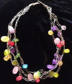 crochet wire necklace with stone like beads.