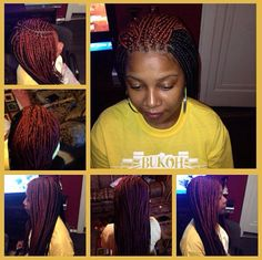 Medium Two-Toned Box Braids w/ Burned Ends