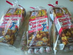 RJ T-Ball end of the season team treat.....Treat bags for baseball fans/parties