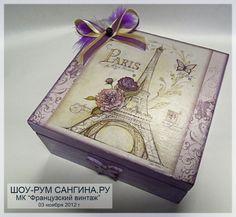 love this box Decoupage Glass, Decoupage Box, Decoupage Vintage, Paris Crafts, Romantic Shabby Chic, Altered Boxes, Vintage Box, Wooden Jewelry, Keepsake Boxes