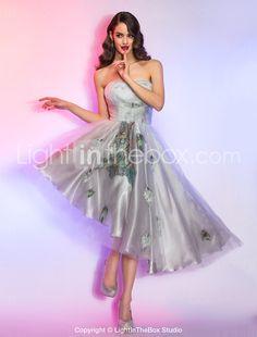 [BlackFridaySale]A-line/Princess Strapless Asymmetrical Tulle and Charmeuse Cocktail Dress - GBP £ 60.99