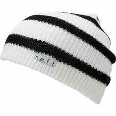 The Neff Daily slouch beanie is the ultimate in classic head wear. This white and black stripe Neff beanie is extra soft with a slightly ribbed knit texture, a slight slouch fit, and a custom Neff Clothing logo tag. The Neff Daily beanie looks great on gu