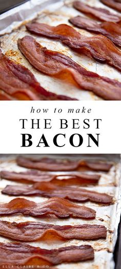 This quick and easy oven-baked bacon is the absolute best, with perfect bacon every time and very little mess. It is so much easier than traditional pan frying! Yummy Appetizers, Appetizer Recipes, Snack Recipes, Yummy Recipes, Salad Recipes, Oven Baked Bacon, Bacon In The Oven, Bagel Breakfast Sandwich, Breakfast Bites