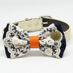 Navy and Orange Dog Bow Tie Collar, Lace, Pet wedding, Charm(Live Laugh Love), Puppy Birthday