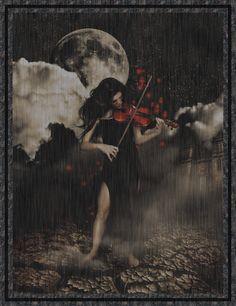 Malgré la pluie, la violoniste continue de jouer...